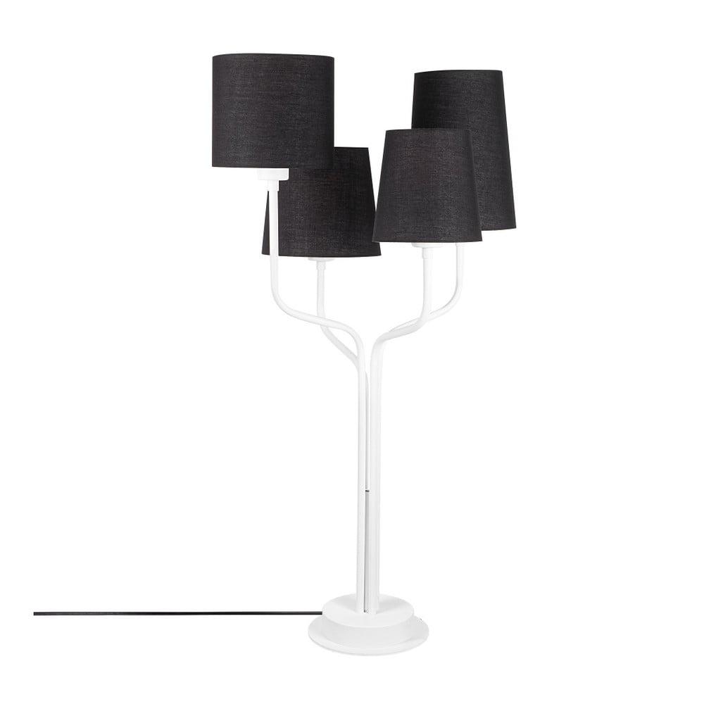 Biała metalowa lampa stołowa z czarnym kloszem Opviq lights Aposto
