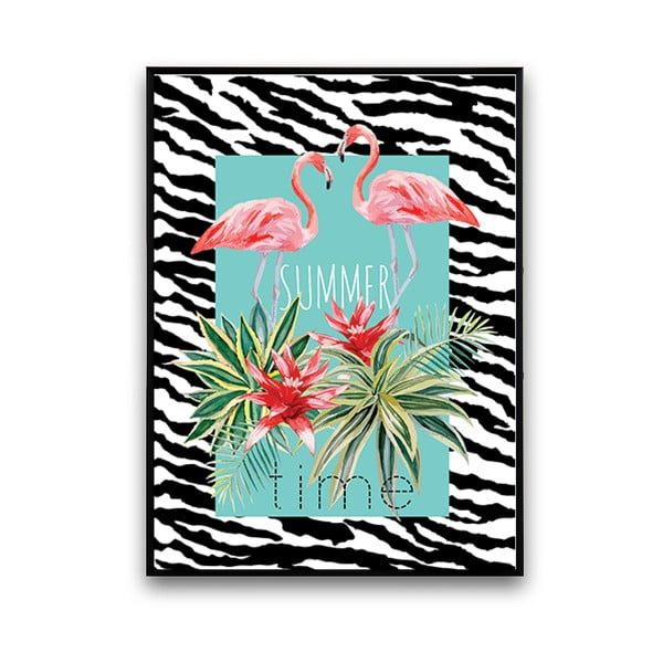 Plakat z flamingami Summer Time, 30 x 40 cm