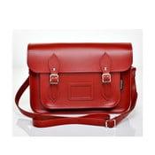 Skórzana torebka Satchel 40 cm, czerwona