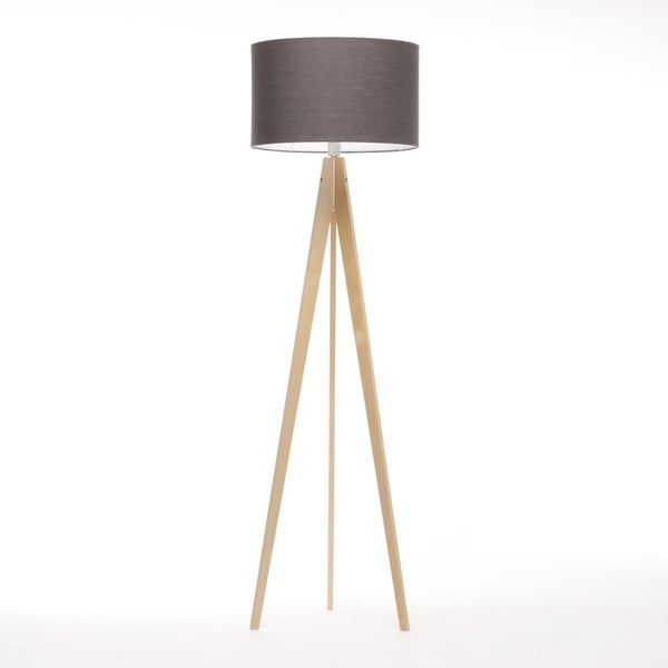 Lampa stojąca Artist Dark Grey Linnen/Birch Natural, 125x42 cm