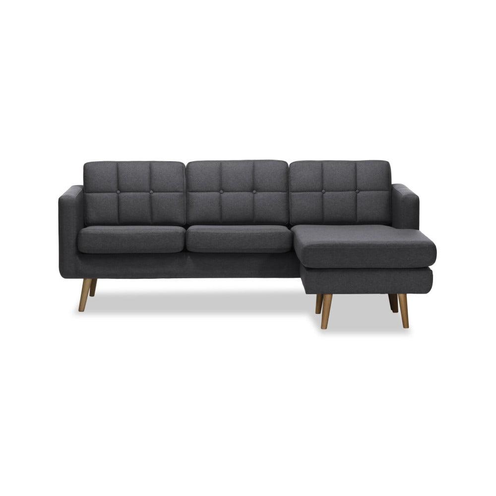 Ciemnoszara prawostronna 3-osobowa sofa narożna Vivonita Magnus