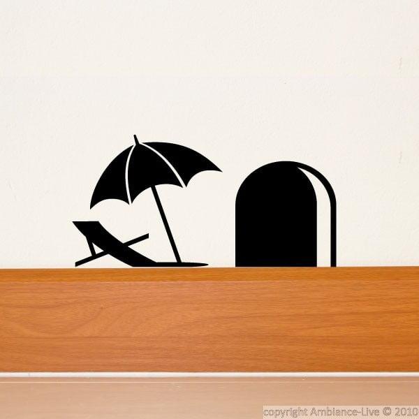 Naklejka Mouse Hole with Umbrella, 15x8 cm