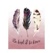 Plakat w drewnianej ramie Feather three, 38x28 cm