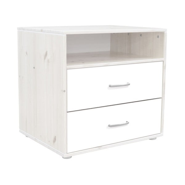 Biała komoda dziecięca z 2 lakierowanymi szufladami z drewna sosnowego Flexa Classic