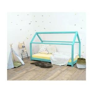 Turkusowe łóżko dziecięce z drewna świerkowego Benlemi Tery, 70x160 cm