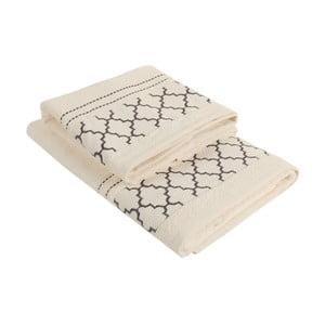 Komplet kremowego ręcznika bawełnianego i ręcznika kąpielowego Kalidrin