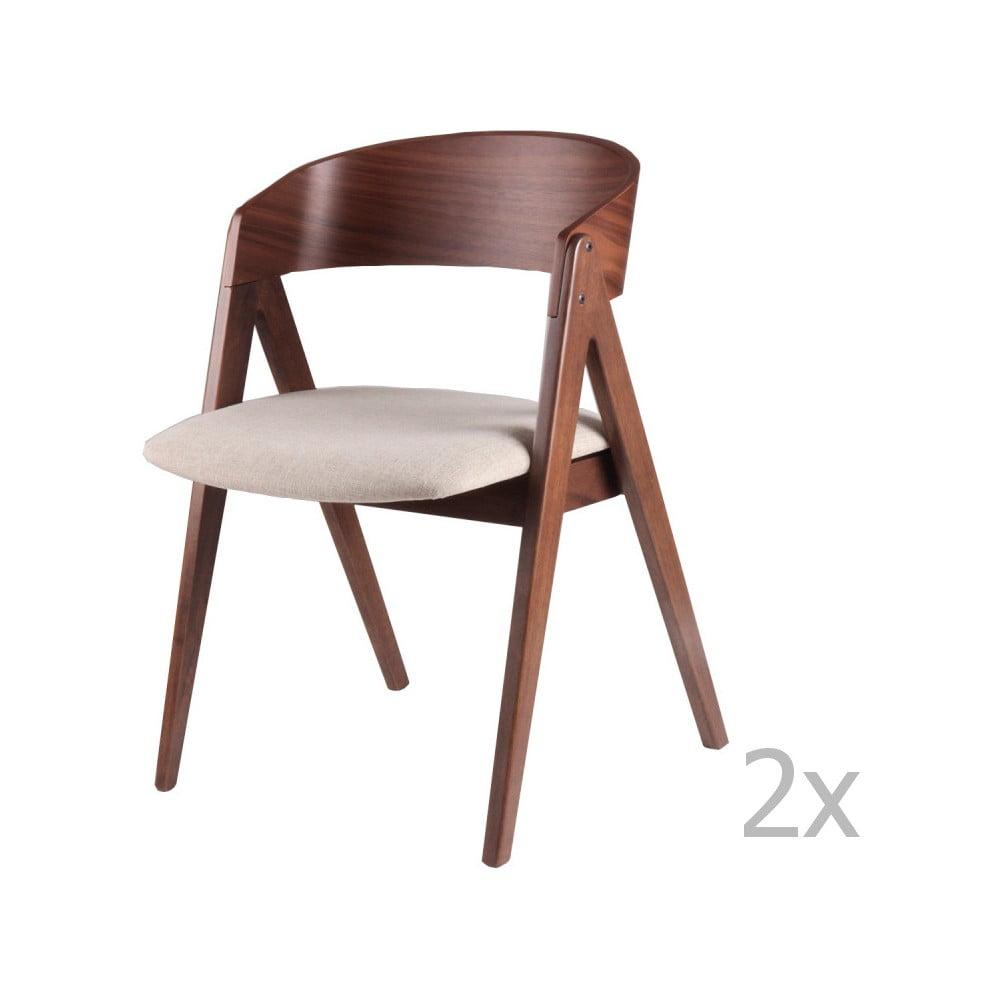 Zestaw 2 krzeseł do jadalni z beżowym siedziskiem sømcasa Rina