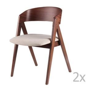 Zestaw 2 beżowych krzeseł sømcasa Rina