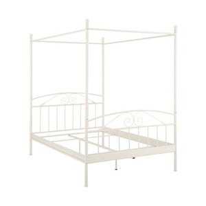 Białe łóżko dwuosobowe z baldachimem Støraa Bibi, 180x200 cm