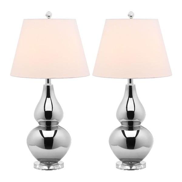 Zestaw 2 lamp stołowych z srebrną podstawą Safavieh Kara