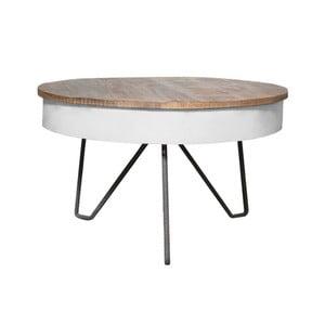 Biały stolik z blatem z drewna mango LABEL51 Saria
