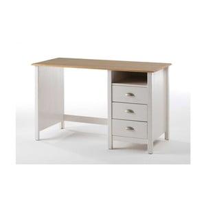 Białe biurko z drewna sosnowego SOB Jayde