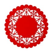 Czerwona mata stołowa Clayre & Eef Holy Merry Time, Ø 25 cm