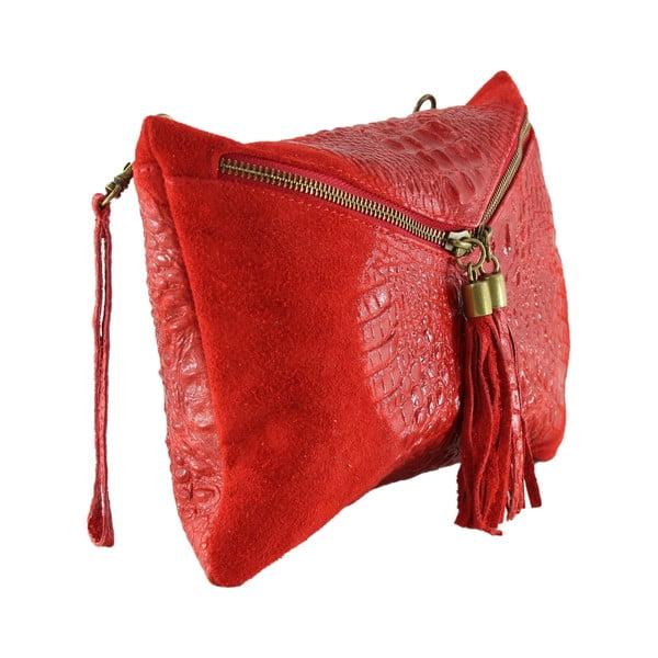 Skórzana kopertówka Wissa, czerwona