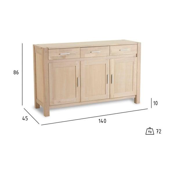 3-drzwiowa komoda z drewna dębowego Furnhouse Texas