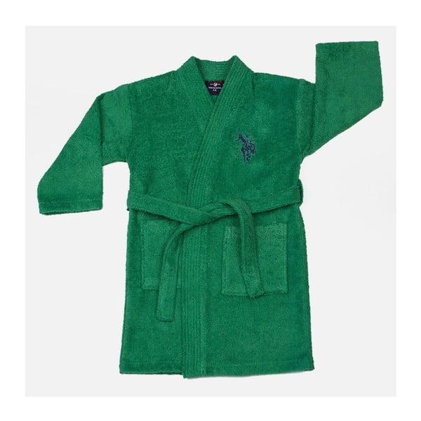 Szlafrok dziecięcy U.S. Polo Assn. Uspa Green, rozmiar 3/4