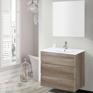 Szafka do łazienki z umywalką i lustrem Nayade, motyw dębu, 70 cm