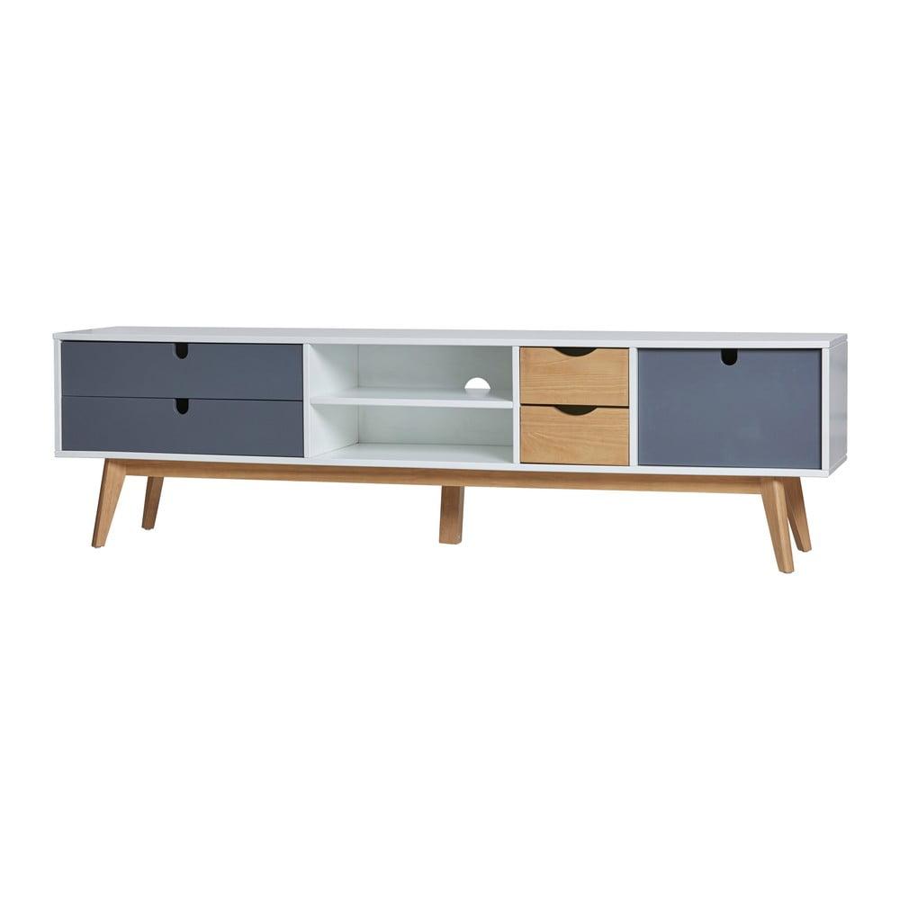 Szafka pod TV z szarymi szufladami Marckeric Mila, 180x37 cm