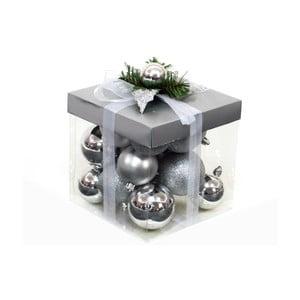 Zestaw 18 bombek świątecznych w kolorze srebra Ixia Decor