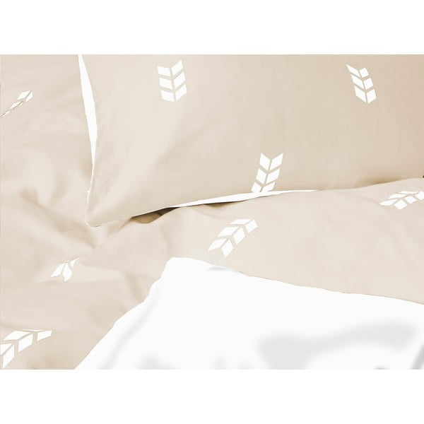 Beżowa pościel Hawke&Thorn Finch Straw, 150 x 200 cm + poduszka 50 x 60 cm