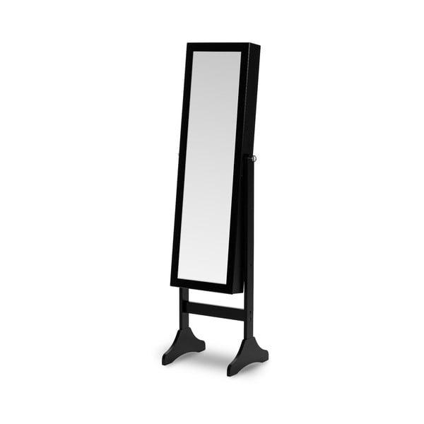 Lustro stojące w czarnej ramie ze schowkiem na biżuterię z podświetleniem LED Chez Ro Bien