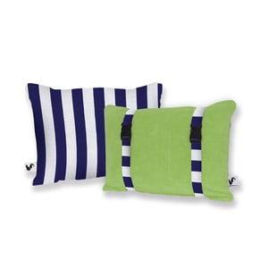Zielona dwustronna poduszka plażowa Origama Blue Stripes