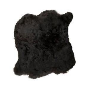 Czarny dywan futrzany z krótkim włosiem, 90x80 cm