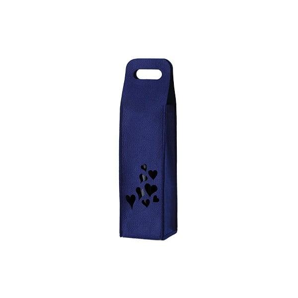 Filcowa torebka na wino, serduszka, niebieska