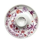 Zestaw 2 talerzy z kieliszkiem na jajko Birds Cup, fioletowy