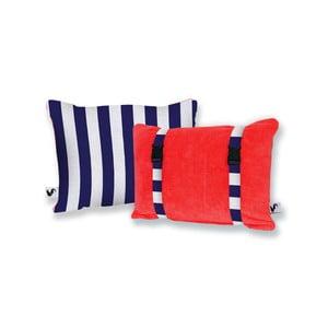 Czerwona dwustronna poduszka plażowa Origama Blue Stripes