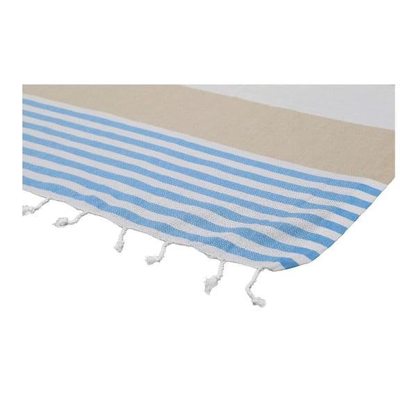 Ręcznik hammam Ellis Beige/Blue, 100x180 cm
