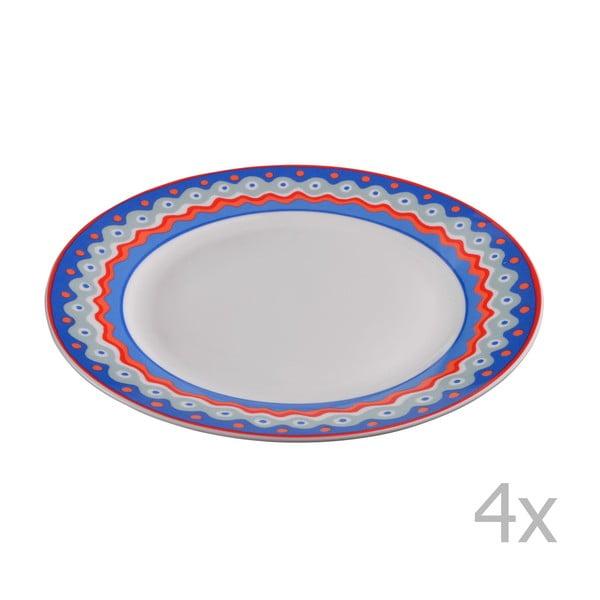 Komplet 4 porcelanowych talerzyków deserowych Oilily 19 cm, niebieski