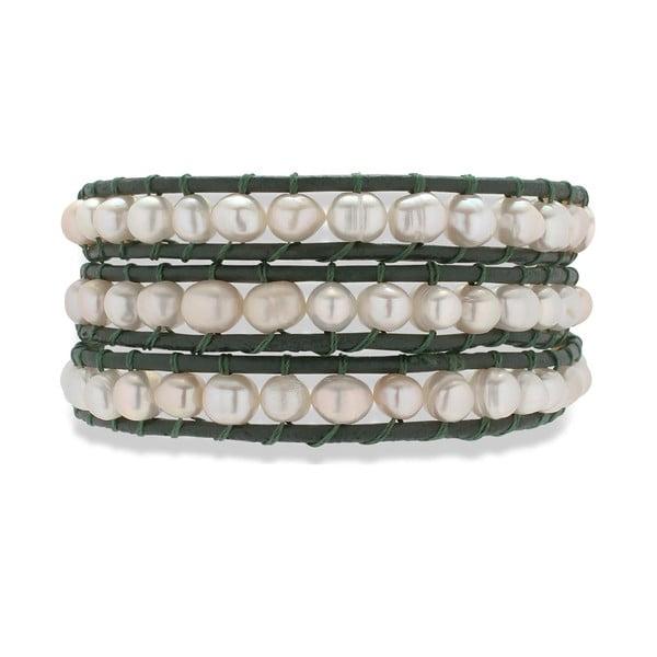 Czarno-biała bransoletka skórzana z perłami Nova Pearls Copenhagen Néreus