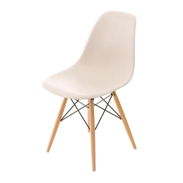 Beżowe krzesło D2, drewniane nogi