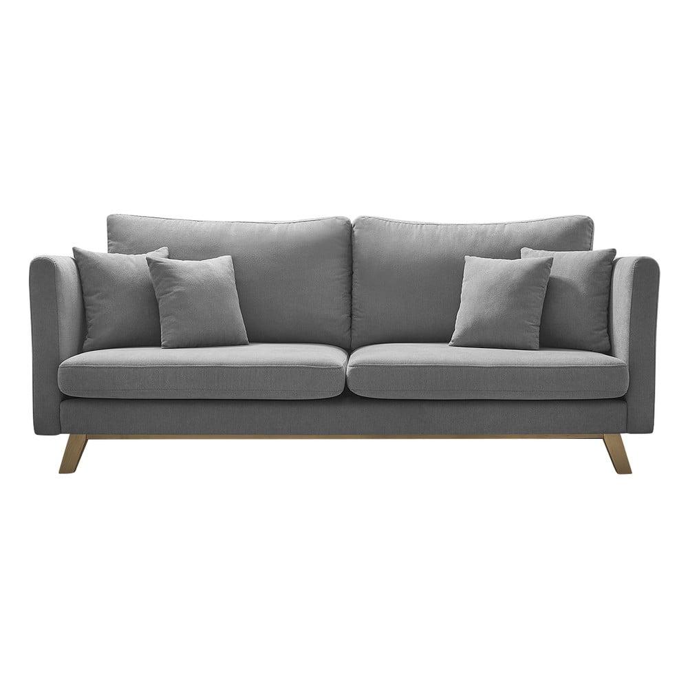 Szara rozkładana sofa Bobochic Paris Triplo