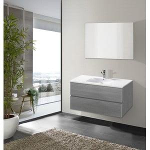 Szafka do łazienki z umywalką i lustrem Flopy, odcień szarości, 90 cm