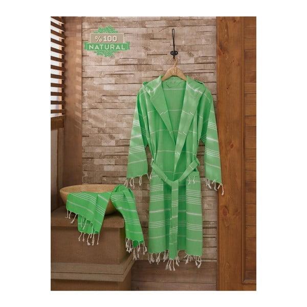 Zestaw szlafrok i ręcznik Sultan Cagla Green, S/M