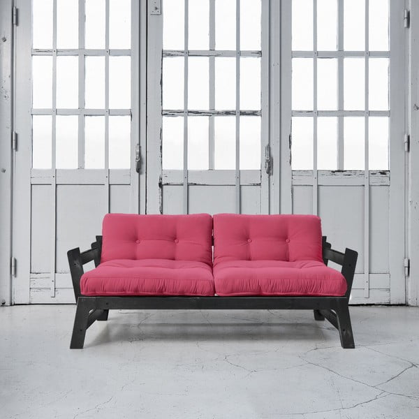 Sofa rozkładana Karup Step Black/Magenta