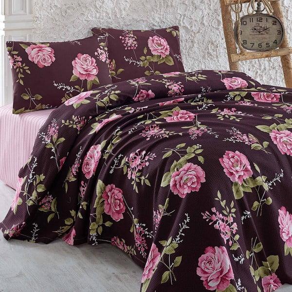 Narzuta i poduszka Serenay Purple, 200x235 cm