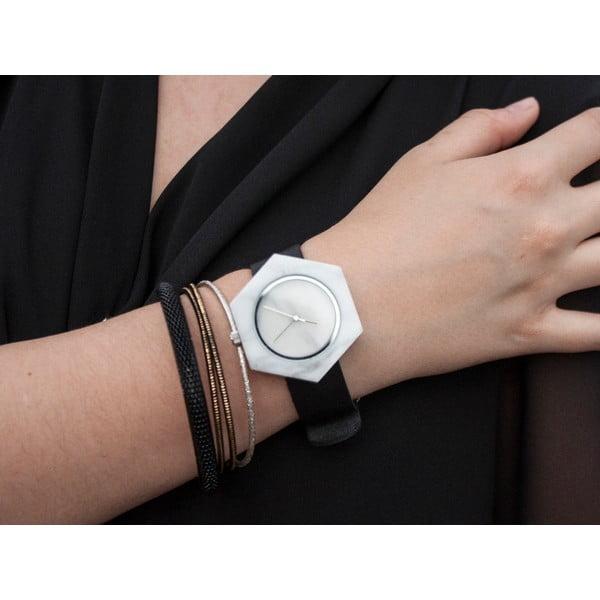 Biały sześciokątny marmurkowy zegarek z czarnym paskiem Analog Watch Co.