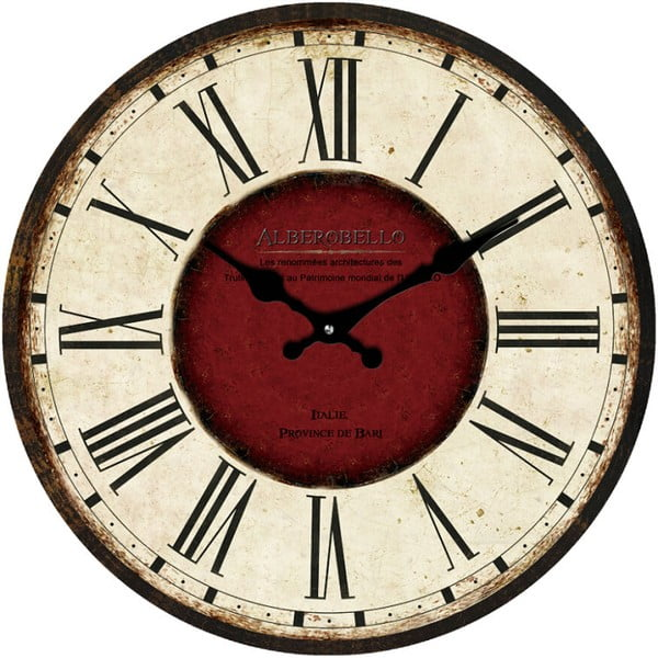 Szklany zegar Alberobello, 38 cm