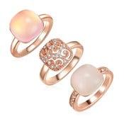 Zestaw 3 pierścionków z kryształami Swarovski Lilly & Chloe Christia, rozm.56