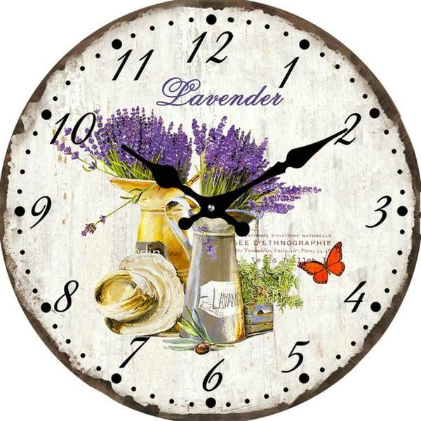 Szklany zegar Levandule, 38 cm