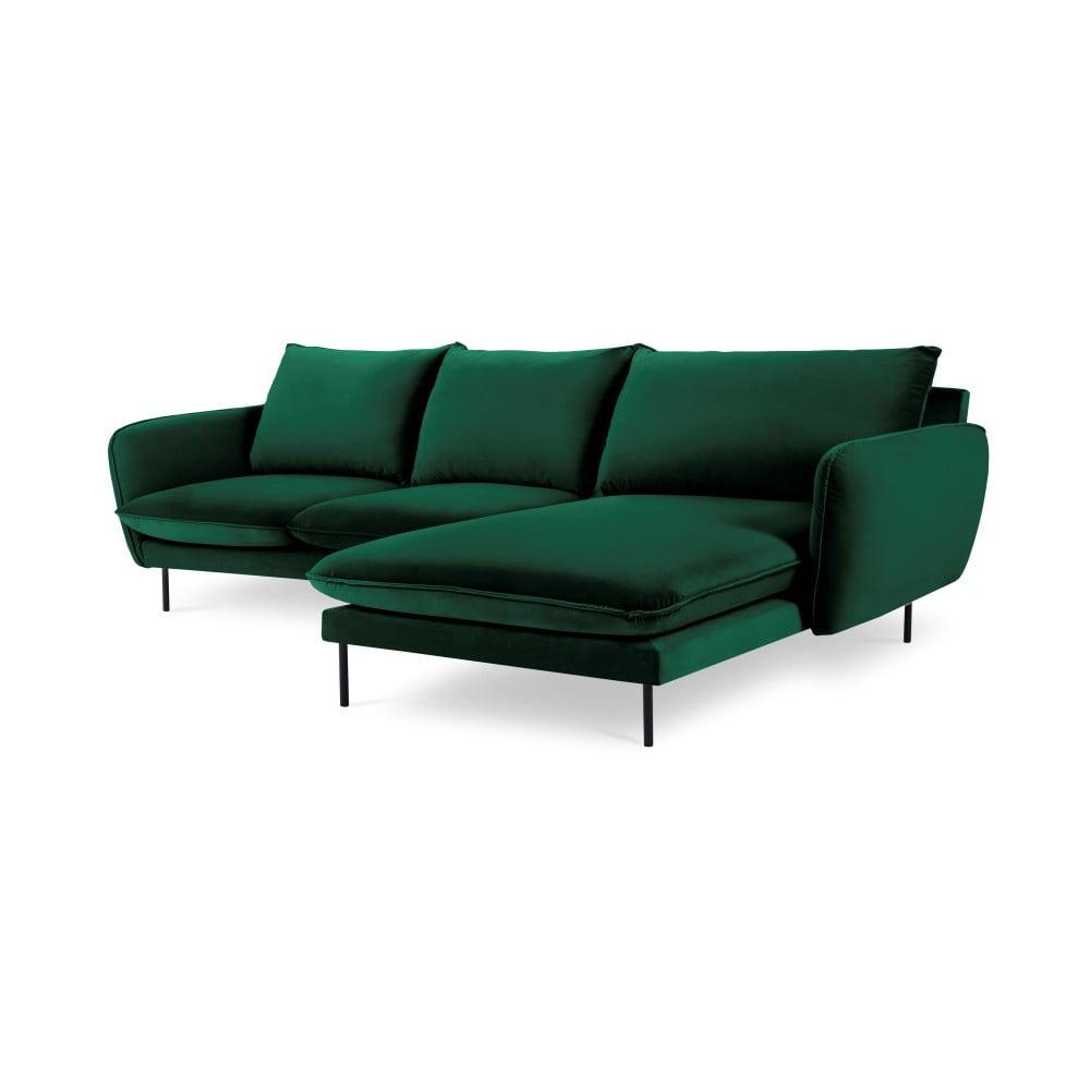 Zielona narożna aksamitna sofa prawostronna Cosmopolitan Design Vienna