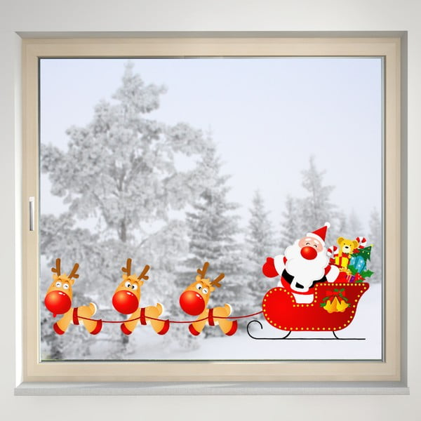 Elektrostatyczna naklejka Mikołaj i renifery