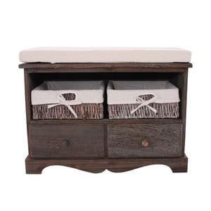 Brązowa ławka z koszykami i szufladami Mendler Shabby