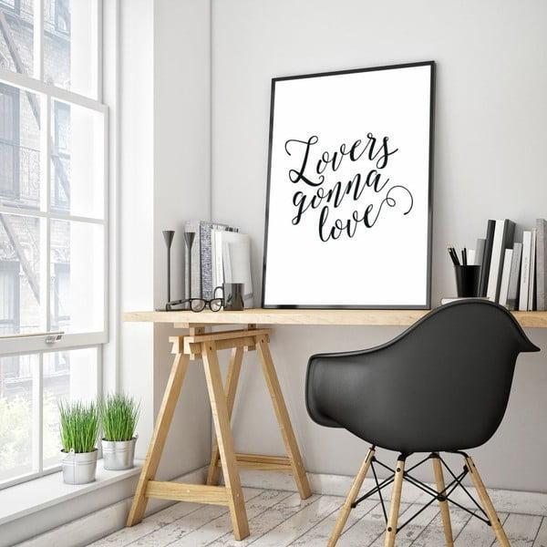 Plakat w drewnianej ramie Lovers gonna love, 38x28 cm