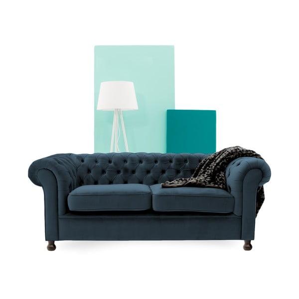 Granatowa sofa trzyosobowa Vivonita Chesterfield
