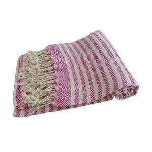 Różowy ręcznie tkany ręcznik z bawełny premium Safir,100x180 cm