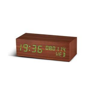 Budzik Square Click Clock z zielonym LED, orzech